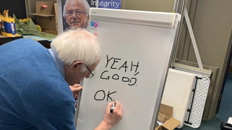 Bernie Sanders Writing On A Whiteboard Know Your Meme