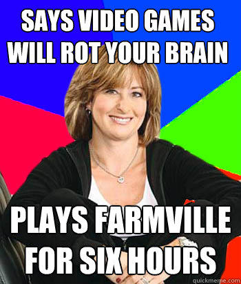SAYS VIDEO GAMES WILL ROTYOUR BRAIN PLAYS FARMVILLE FOR SIXHOURS quickkmene.com Carly Phillips photo caption