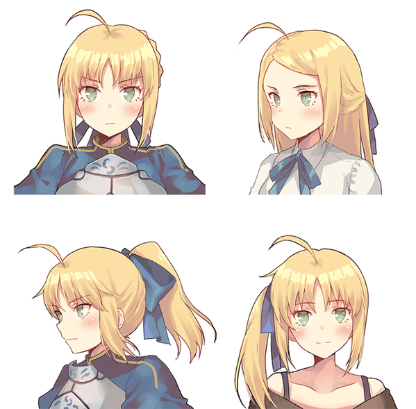Saber Hair Style 1 Fate Type Moon Know Your Meme