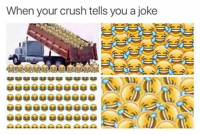 When your crush tells you a joke yellow text product