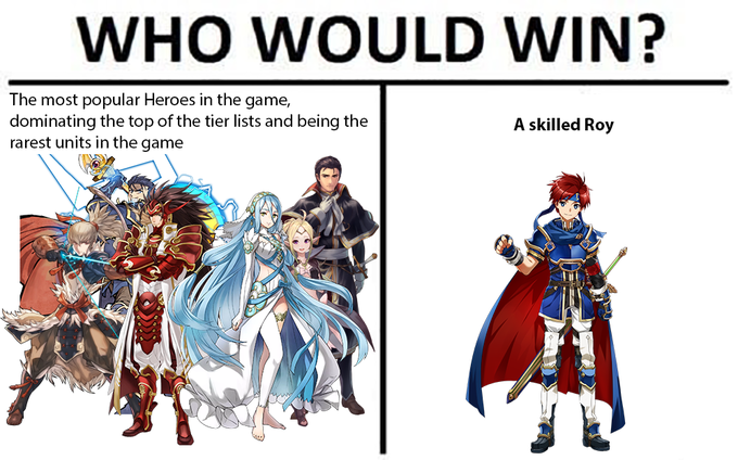 WHO WOULD WIN? The most popular Heroes in the game, dominating the top of the tier lists and being the rarest units in the game A skilled Roy Fire Emblem Heroes Super Smash Bros. Melee costume