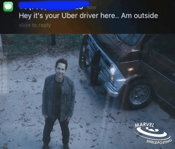 Ant Man on security camera as an Uber driver