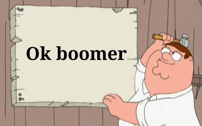 Ok boomer Cartoon Text Facial expression Nose Head Illustration Line Child Font Fiction Pink Cheek Organ Clip art Human Finger Interaction Art
