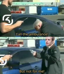 Call the ambulance! But not for me! Michael Dapaah Vehicle door Windshield Motor vehicle Mode of transport Automotive window part Luxury vehicle Automotive exterior Vehicle Auto part Driving