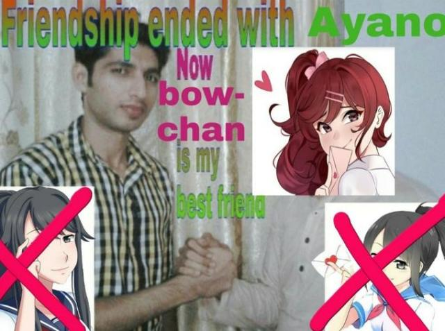 Friendshin ended with Ayano Now bow- chan s my best fena Pink Cool Forehead Human