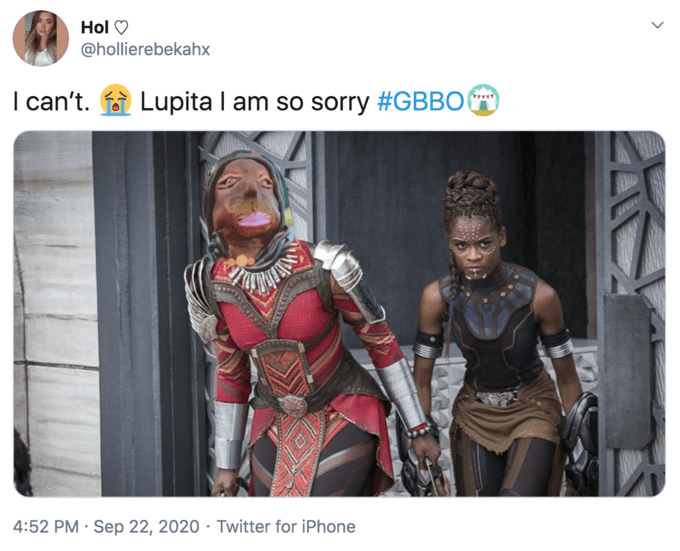 Hol O @hollierebekahx I can't. Lupita I am so sorry #GBBO 4:52 PM · Sep 22, 2020 · Twitter for iPhone Lupita Nyong'o Black Panther II Michael B. Jordan People Human