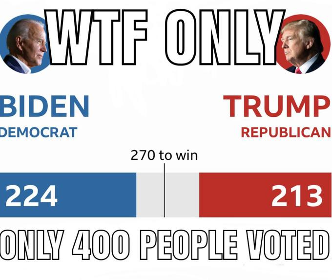 WTF ONLY BIDEN TRUMP DEMOCRAT REPUBLICAN 270 to win 224 213 ONLY 400 PEOPLE VOTED Text Font