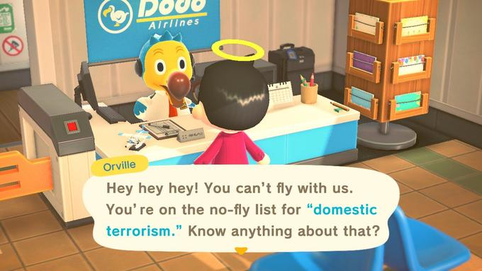"""Do Airlines :: an Orville Hey hey hey! You can't fly with us. You' re on the no-fly list for """"domestic terrorism."""" Know anything about that? Animal Crossing: New Horizons Animation Shipping box Computer accessory Toy Animated cartoon"""