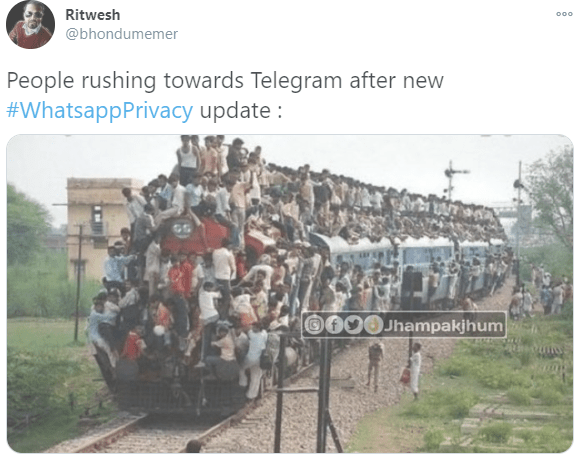 Ritwesh 000 @bhondumemer People rushing towards Telegram after new #WhatsappPrivacy update : 0000Jhampakjhum Train Mode of transport Nature Transport People Track Rolling stock Railway Crowd Community Train Travel Public transport Engineering Railroad car World Locomotive Human settlement Iron