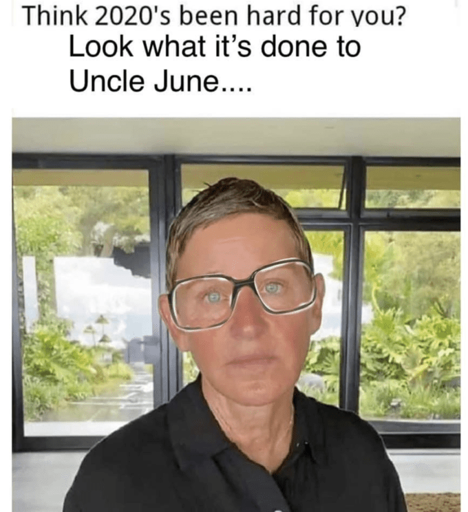 Think 2020's been hard for you? Look what it's done to Uncle June.... Eyewear Glasses Vision care Lip Collar Forehead Eyebrow Shirt Jaw Eye glass accessory Transparent material