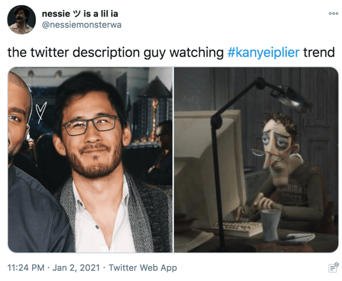 nessie Y is a lil ia 00 @nessiemonsterwa the twitter description guy watching #kanyeiplier trend NaHIGA STATE 11:24 PM · Jan 2, 2021 · Twitter Web App 0...: Eyewear Vision care Glasses Jaw Beard Facial hair Jacket Blazer