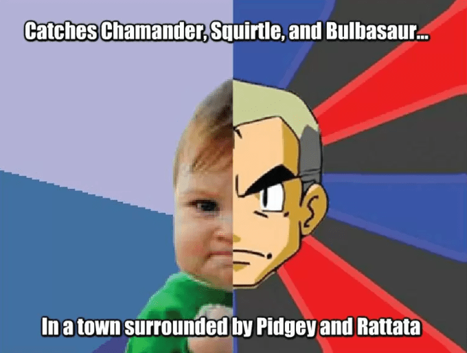 Catches Chamander, Squirtle, and Bulbasaur. In a town surrounded by Pidgey and Rattata Professor Samuel Oak Organism Gesture Happy Sharing Cartoon Font