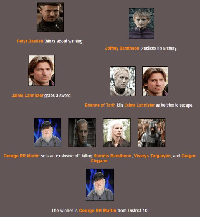 Results Hunger Games Simulator Know Your Meme