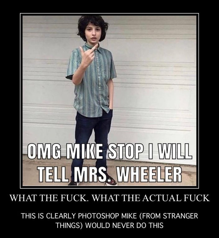 Omg Mike Stop I Will Tell Finn Wolfhard Middle Finger Reaction