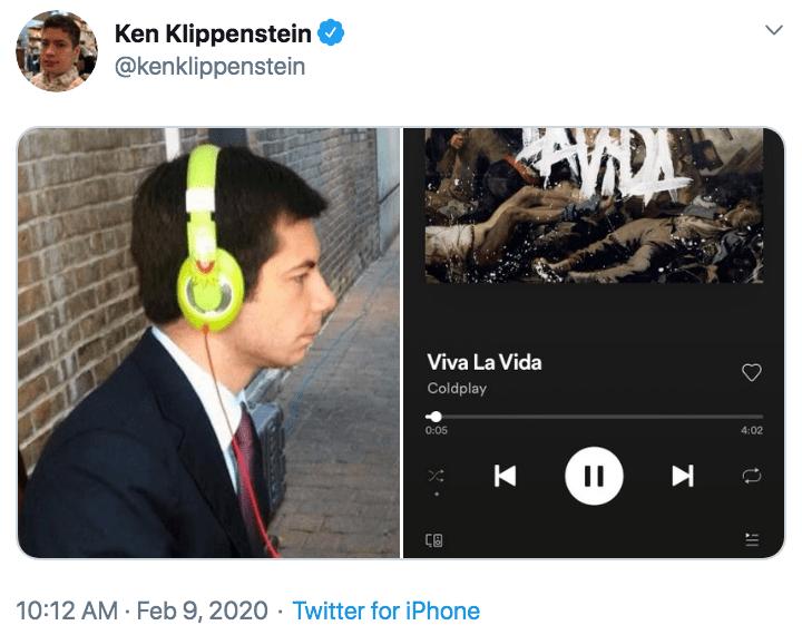 Viva La Vida Coldplay Mayor Pete Buttigieg Wearing Headphones