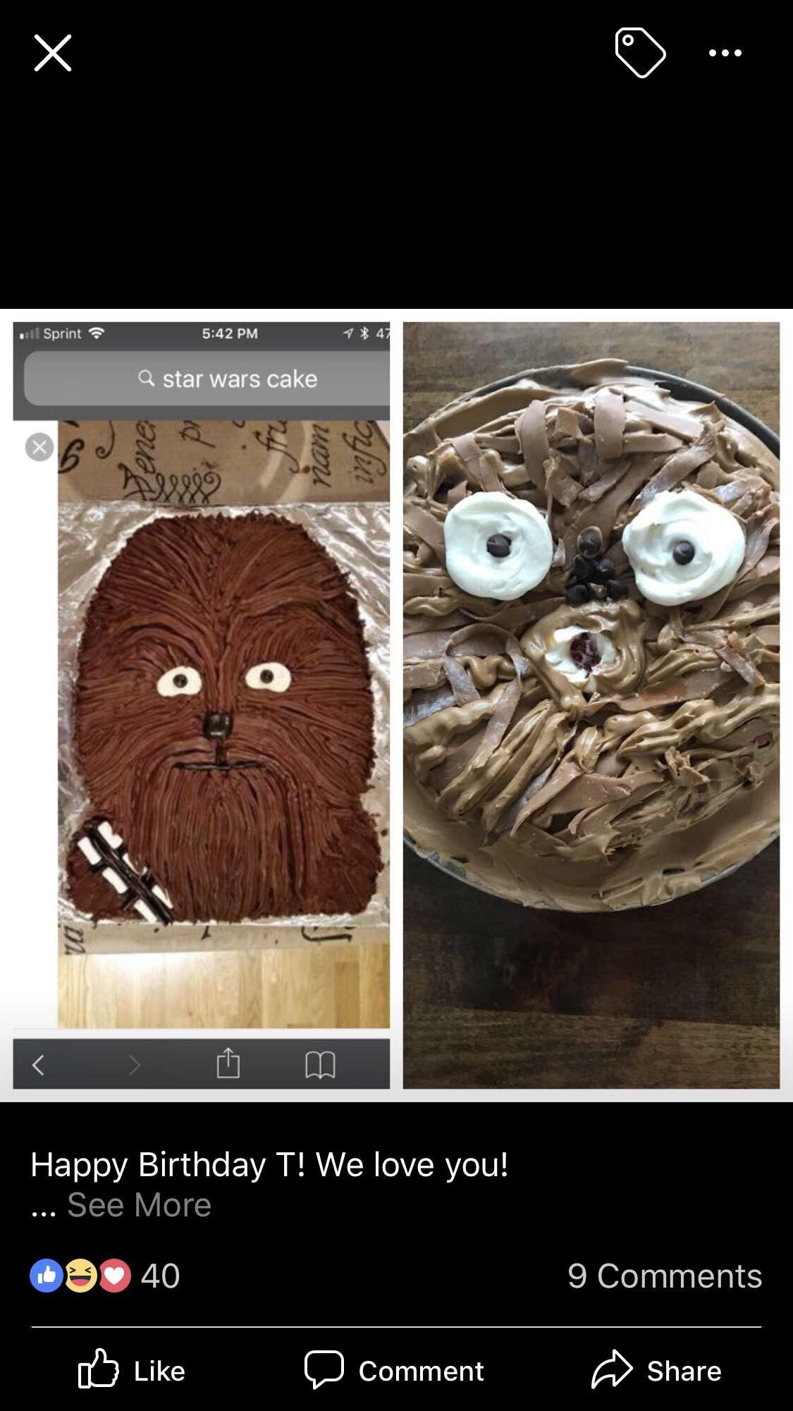 Friends Parents Tried To Re Do A Chewbacca Cake They Found On The Internet For His Birthday R Expectationvsreality Expectation Vs Reality Know Your Meme