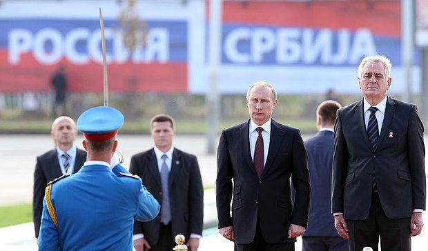 Russian President Vladimir Putin and Serbian President Tomislav Nikolic in Belgrade