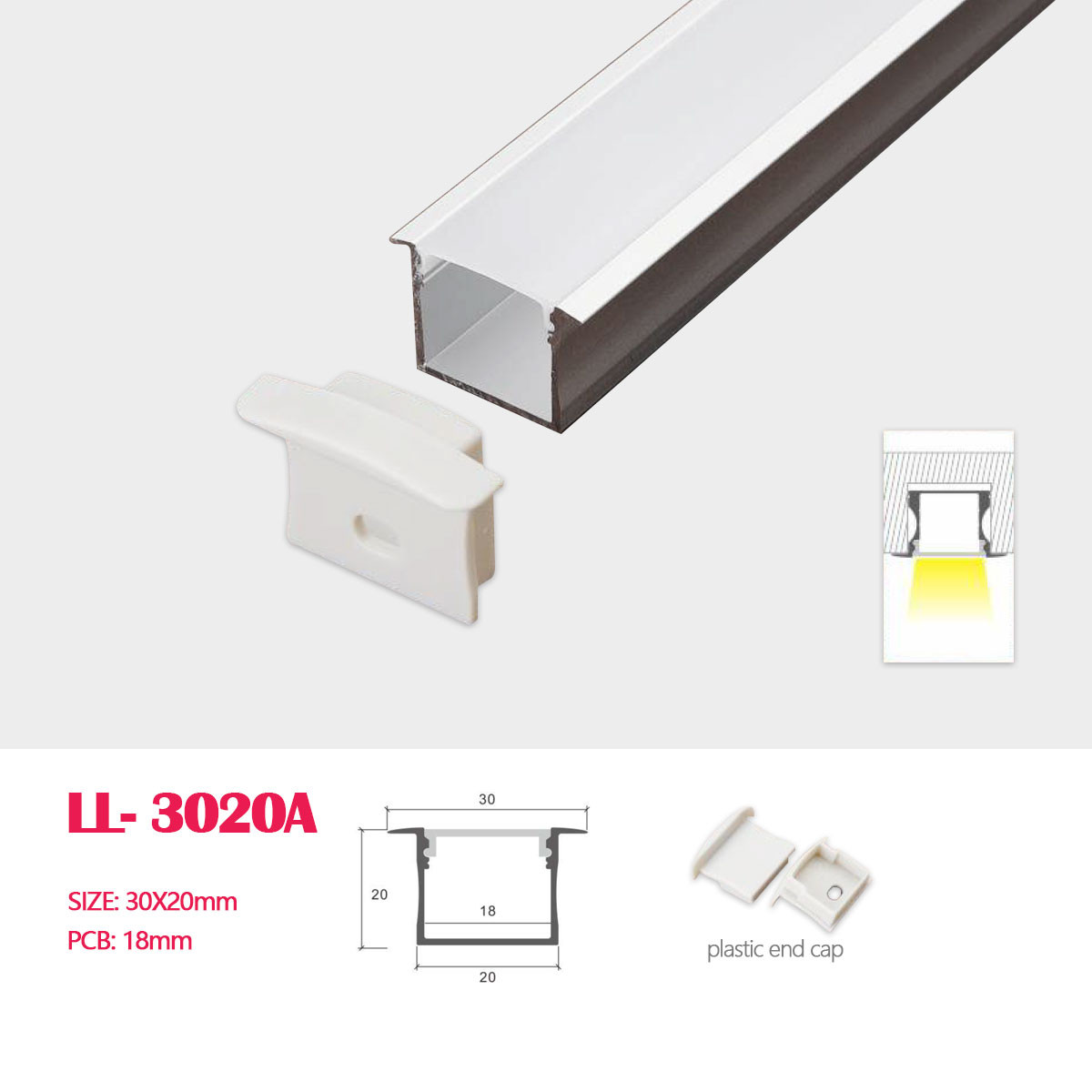 30mm 20mm recessed square flanged led