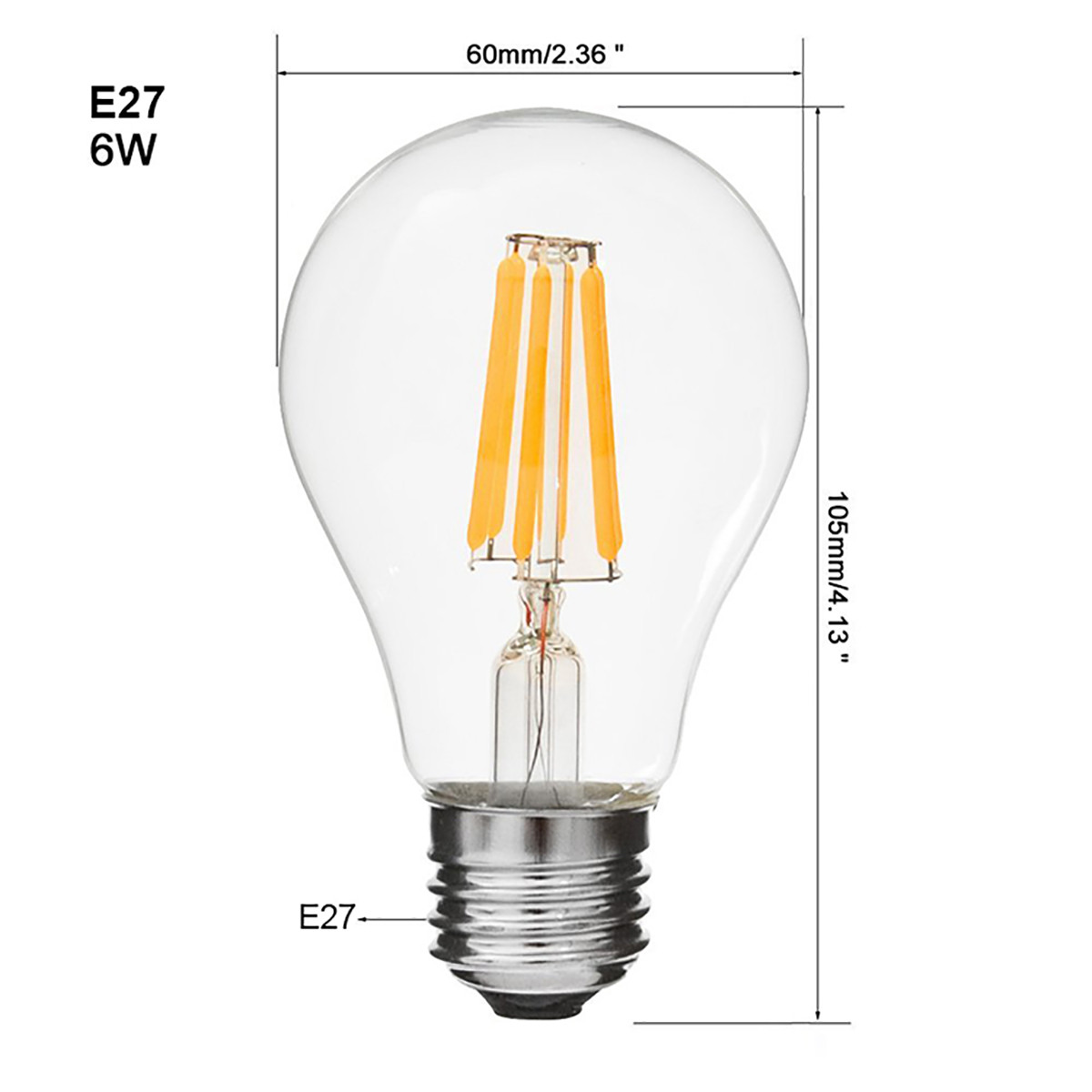 2w Filament Led Globe Light Bulb Light A60 Chandelier Bulb With E26 Base 20w Equivalent Halogen