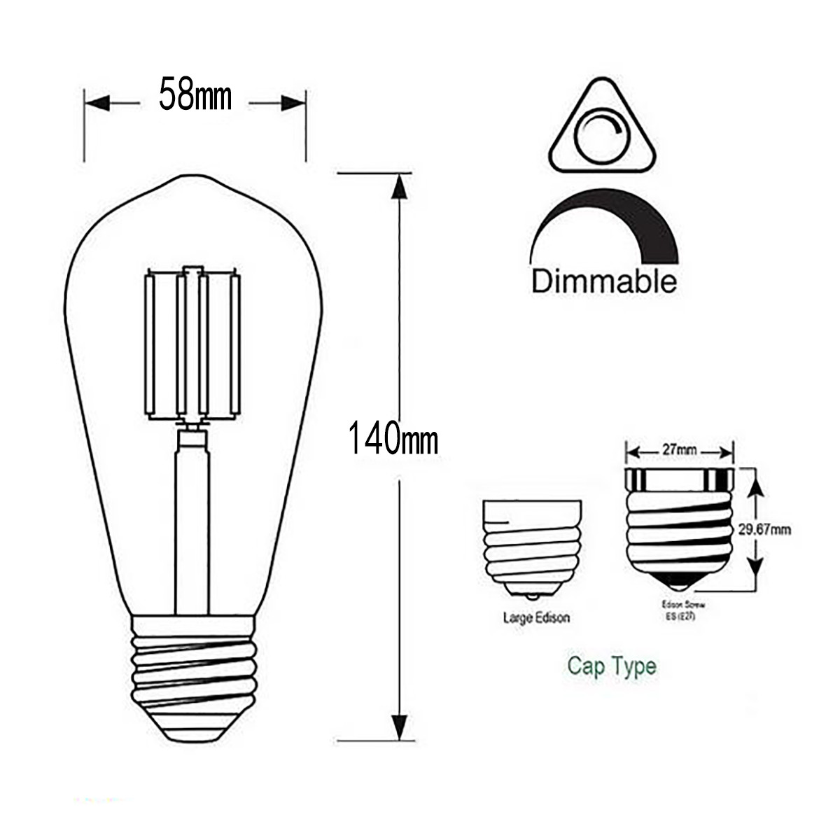 6w Filament Led T Shape Light Bulb Light St48 Chandelier