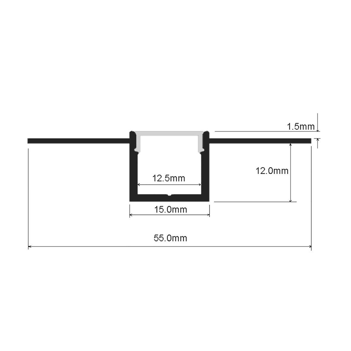 1m 3 28ft 15 56mm Recessed Trimless Aluminum Channel