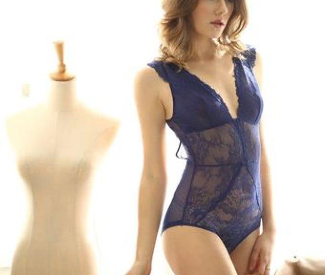 Er Profunda V Cuello Lenceria Sexy Mujeres Calientes Dormir Transparente Encaje Hueco S Blue