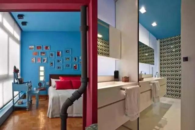 Arquiteta Gislene Lopes foi premiada com o projeto deste apartamento (esq.). À direita, banheiro com teto azul, outro projeto de Gislene Lopes - Jomar Bragança/Divulgação