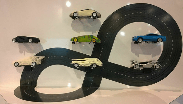 Cars from the Materialise 2014 Slot Car Championship