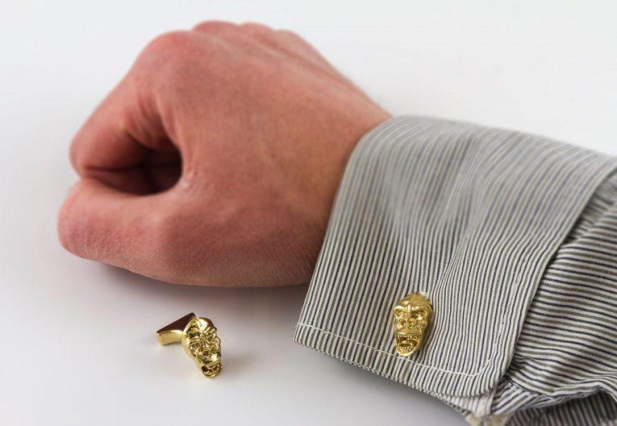 Gorilla cufflinks in untreated brass