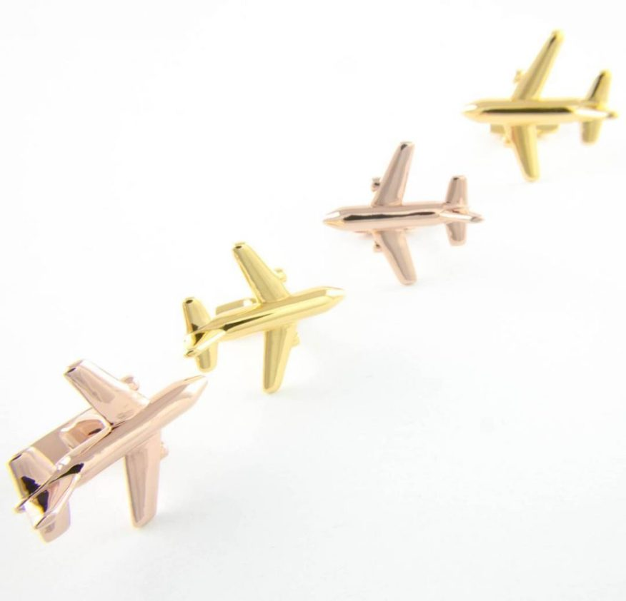 3D-printed cufflinks in the shape of airplanes