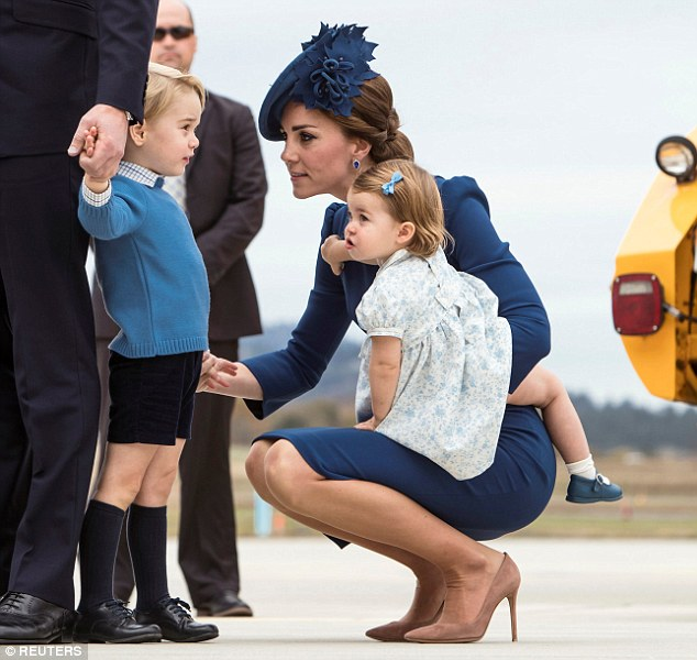 Kate Middleton Squats Down To Speak To Prince George On