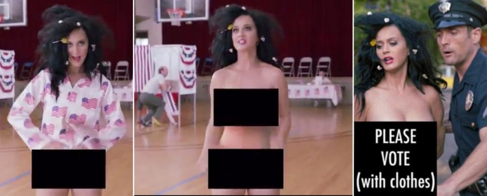 Katy Perry strips NAKED in new clip urging fans to vote at US elections
