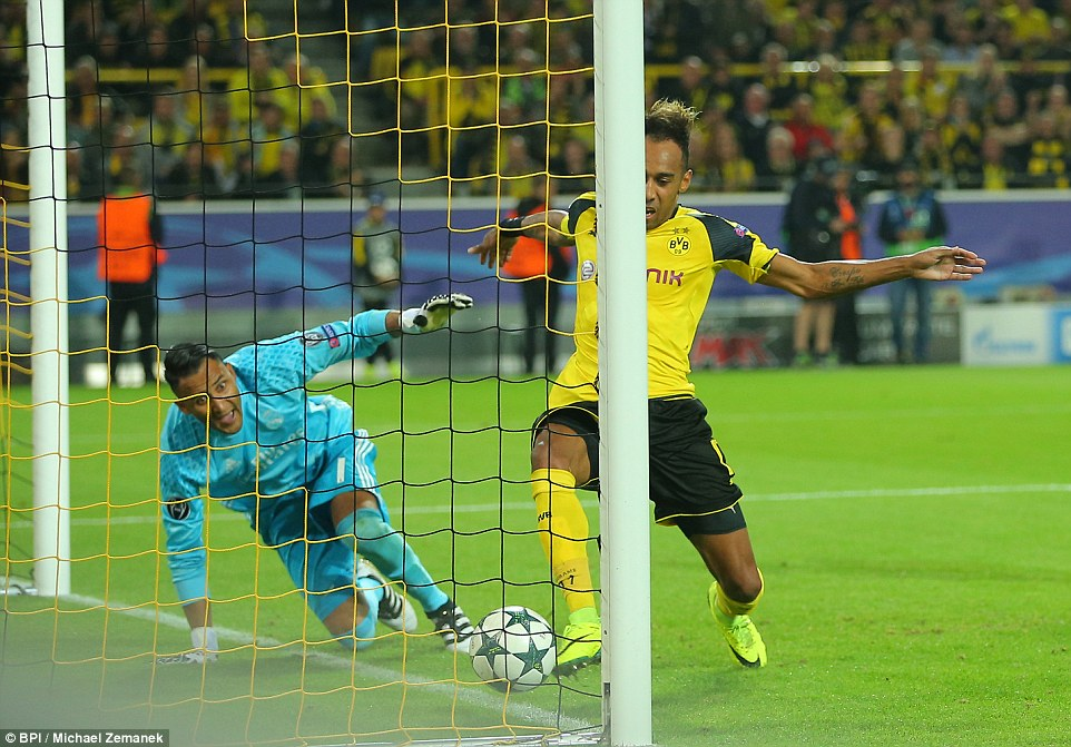 Real fail to hold their lead as Borussia Dortmund striker Pierre-Emerick Aubameyang pounces with an equaliser
