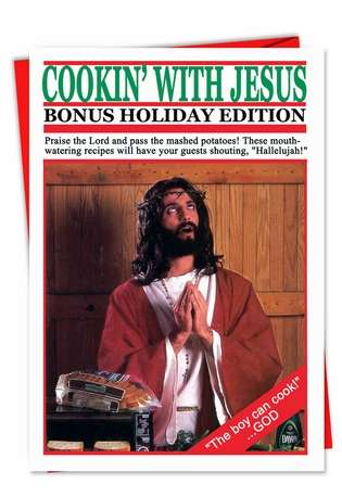 Cooking With Jesus Funny Christmas Card