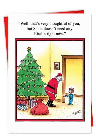 Funny No Ritalin For Santa Christmas Card