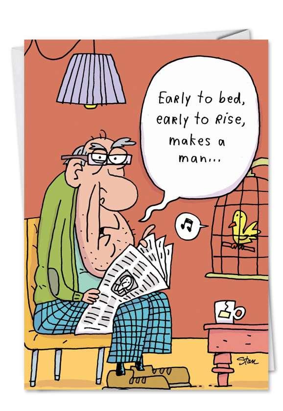 Early To Bed 60 Cartoons Birthday Card Stan Makowski