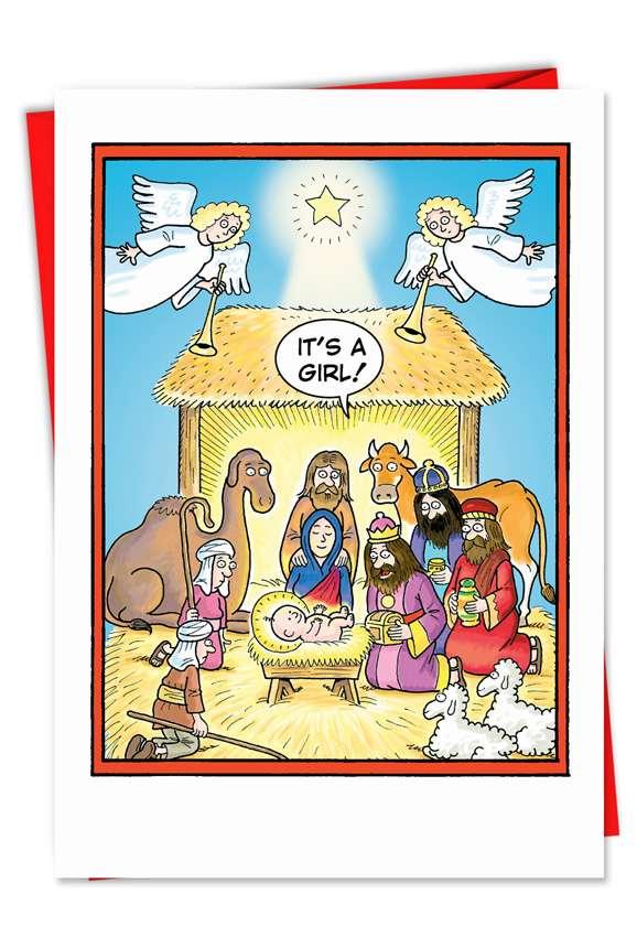Christmas Card Girl Born In A Manger