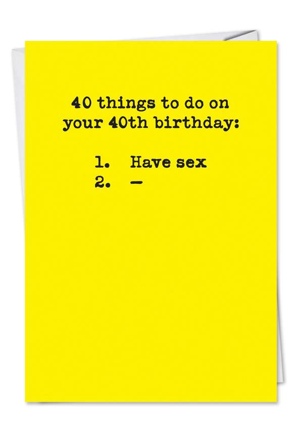 40 Things To Do Hilarious Birthday Paper Greeting Card