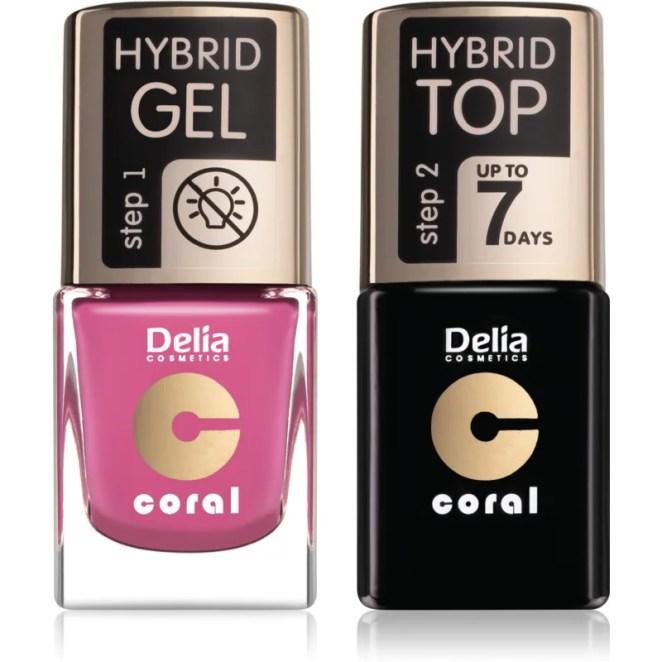Delia Cosmetics Coral Nail Enamel Hybrid Gel kosmetická sada pro ženy odstín 05