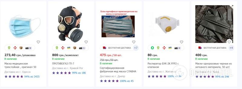 Набридли: Ціни на маски в Україні обвалилися в 10 разів