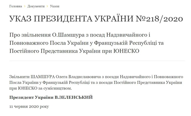 Зеленский уволил Олега Шамшура