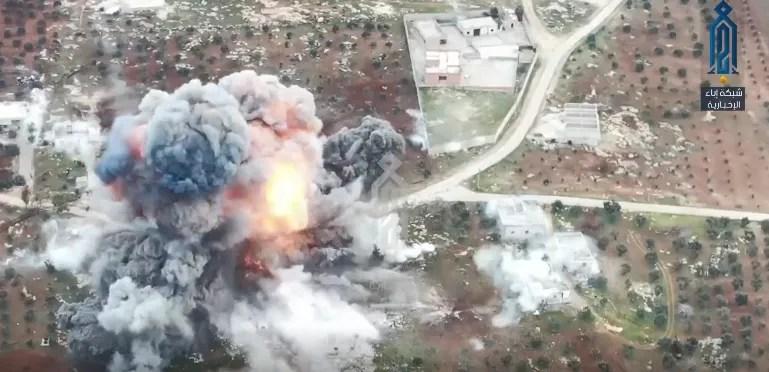 Момент вибуху на російській базі в Алеппо