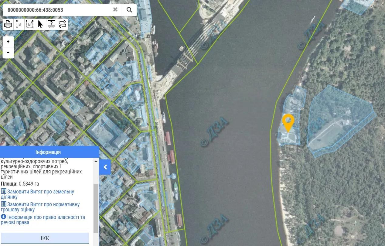 Земельный участок на Кадастровой карте Киева