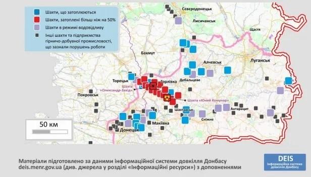 На Донбасі затоплені щонайменше 39 шахт