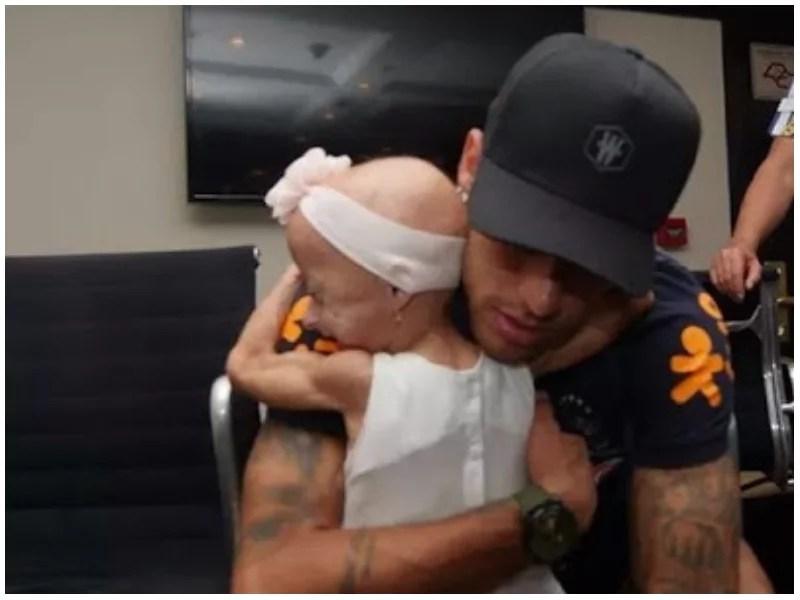 Dream come true! Disabled girl whose wish was to meet Brazilian star Neymar finally meets him