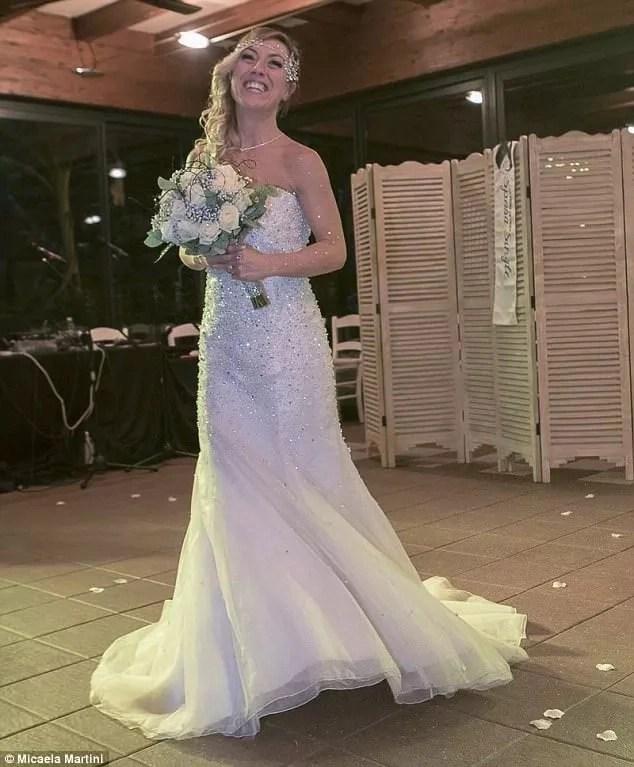 Messi looking joyful at her solo wedding. Photo: Micaela Martini