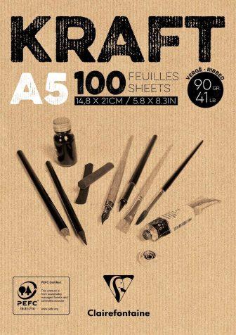 100 Blatt Papierblock Kraftpapier 90g/qm Zeichenblock