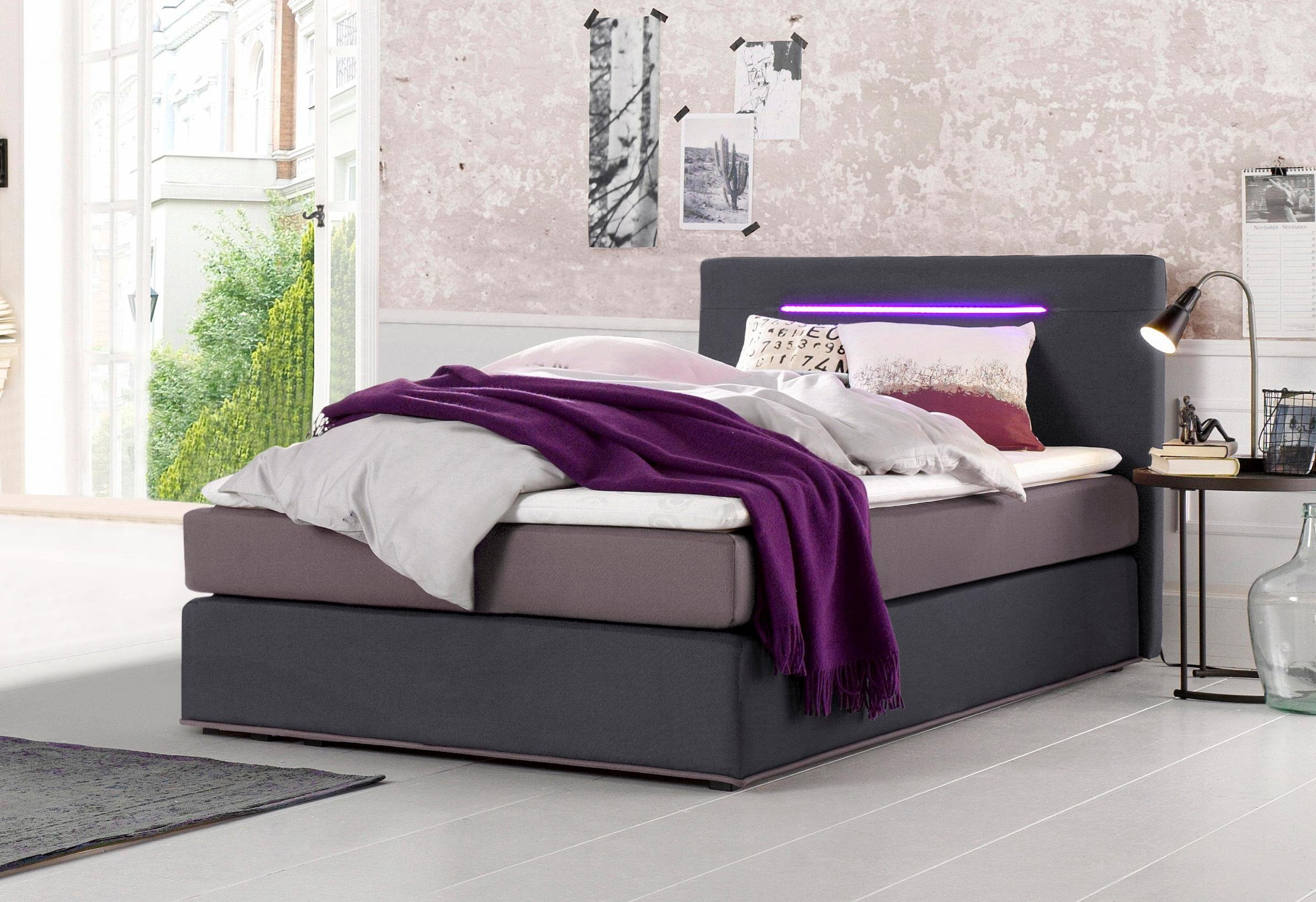 Collection Ab Boxspringbett Inkl Led Beleuchtung Mit Farbwechsel