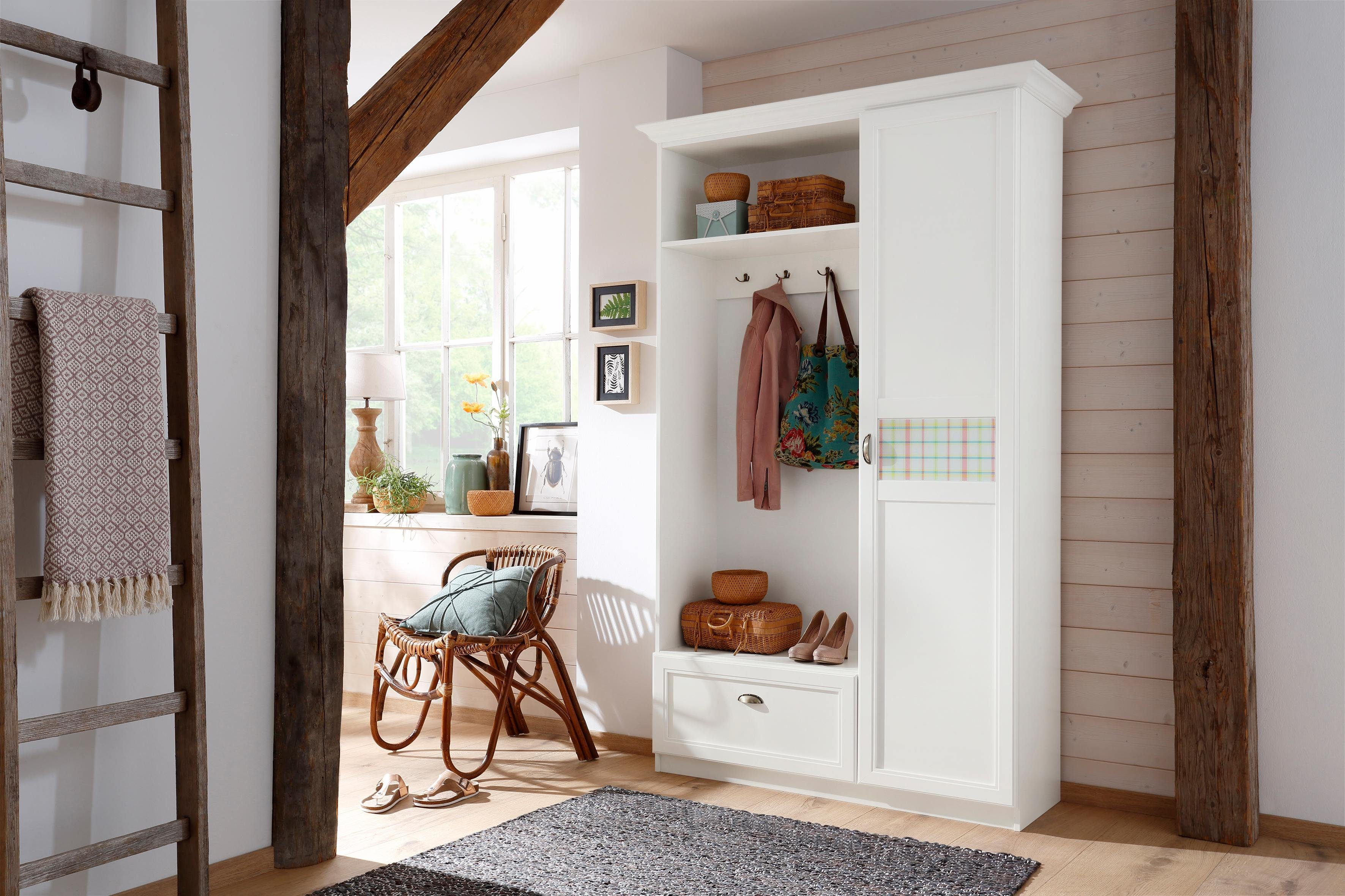 Home affaire Kompaktgarderobe »Sonya« mit dekorativem Glaseinsatz mit Karomuster - Home affaire