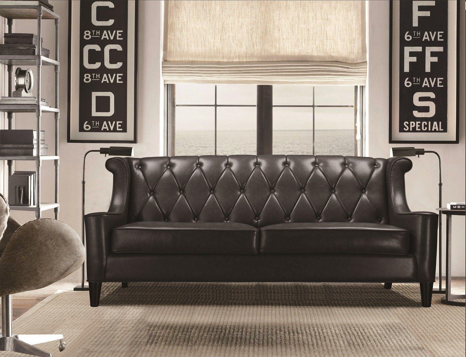 Kasper-Wohndesign Sofa Kunstleder Schwarz 3-Sitzer »PALACE